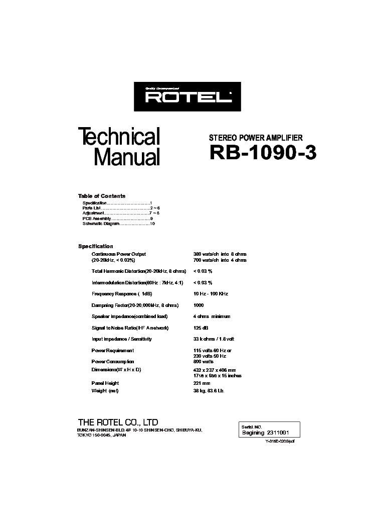 rotel rb 1090 service manual