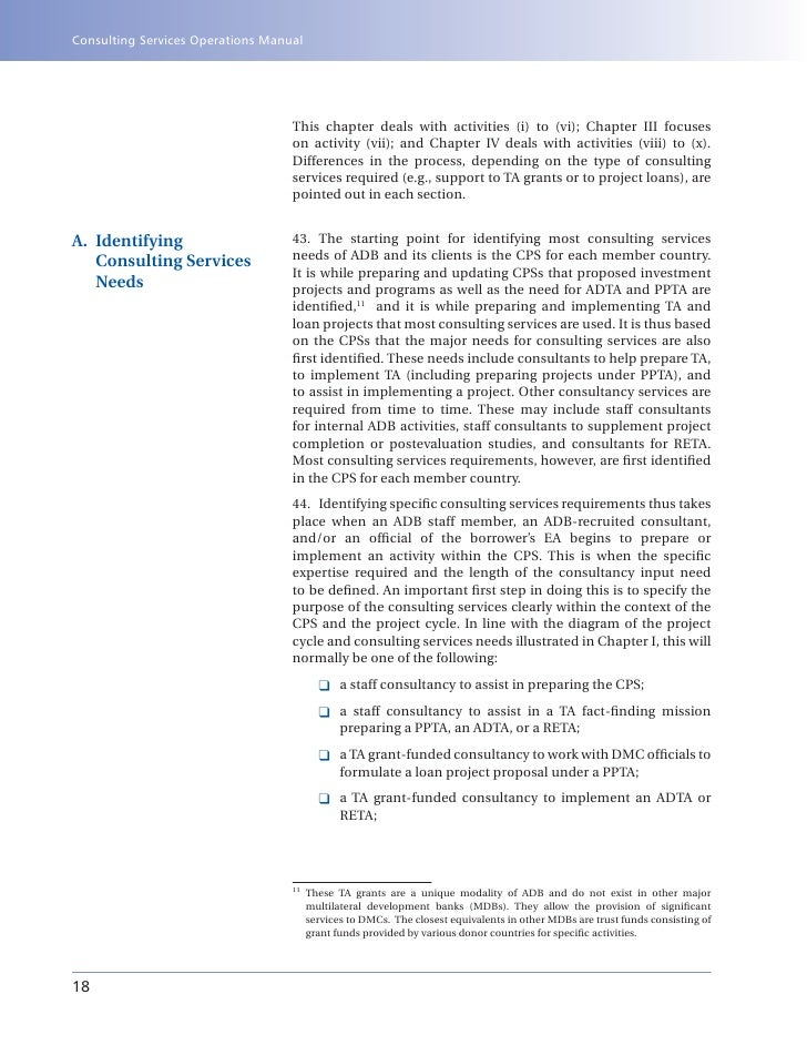 adb consulting services operations manual